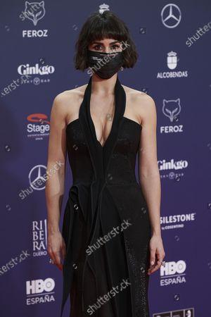 Stock Image of Megan Montaner attends the Feroz Awards 2021 Red Carpet at VP Hotel Plaza de España in Madrid, Spain