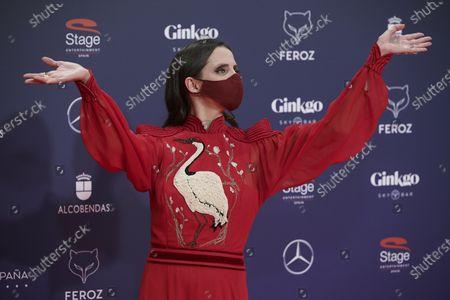 Stock Photo of Macarena Gomez attends the Feroz Awards 2021 Red Carpet at VP Hotel Plaza de España in Madrid, Spain