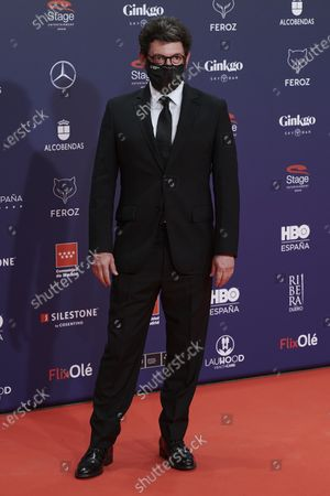Stock Image of Manolo Solo attends the Feroz Awards 2021 Red Carpet at VP Hotel Plaza de España in Madrid, Spain