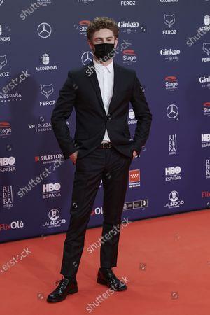 Patrick Criado attends the Feroz Awards 2021 Red Carpet at VP Hotel Plaza de España in Madrid, Spain