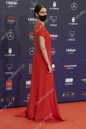 Stock Image of Barbara Santa Cruz attends the Feroz Awards 2021 Red Carpet at VP Hotel Plaza de España in Madrid, Spain