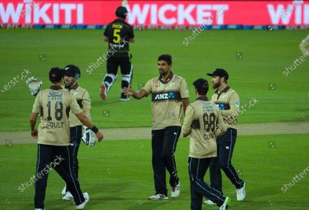NZ bowler Ish Sodhi celebrates dismissing Aaron Finch during the third international men's T20 cricket match between the New Zealand  Black Caps and Australia at Sky Stadium in Wellington, New Zealand on Wednesday, 3 March 2021.