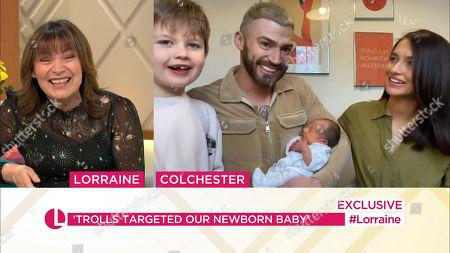 Lorraine Kelly, Jake Quickenden, Sophie Church, Freddie and baby Leo
