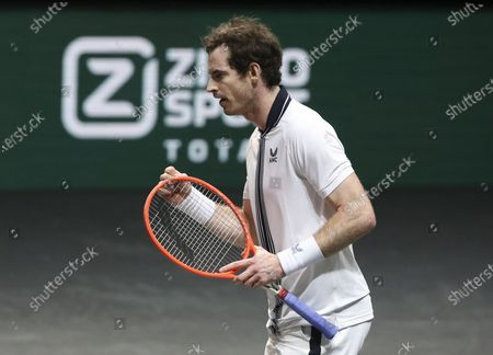 Andy Murray of Great Britain celebrates winning his first round match against Robin Haase of Netherlands
