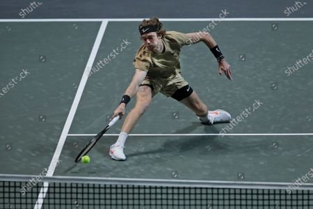 Russia's Andrey Rublev plays a shot against Britain's Andy Murray in their second round men's singles match of the ABN AMRO world tennis tournament at Ahoy Arena in Rotterdam, Netherlands