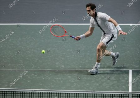 Britain's Andy Murray plays a shot against Russia's Andrey Rublev in their second round men's singles match of the ABN AMRO world tennis tournament at Ahoy Arena in Rotterdam, Netherlands