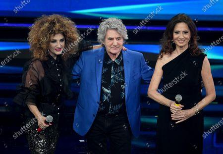 Italian singers Marcella Bella, Fauso Leali and Gigliola Cinquetti on stage at the Ariston theatre during the 71st Sanremo Italian Song Festival, in Sanremo, Italy, 03 March 2021. The festival runs from 02 to 06 March.