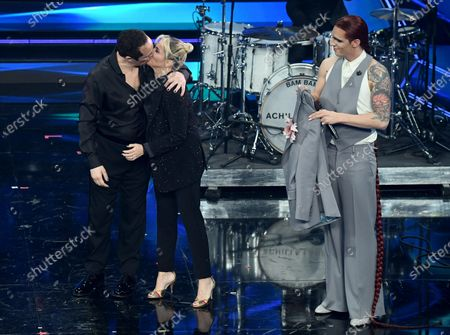 Claudio Santamaria with his wife Italian journalist Francesca Barra and Italian singer Achille Lauro on stage at the Ariston theatre during the 71st Sanremo Italian Song Festival, in Sanremo, Italy, 03 March 2021. The festival runs from 02 to 06 March.