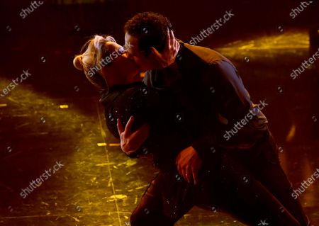 Claudio Santamaria with his wife Italian journalist Francesca Barra on stage at the Ariston theatre during the 71st Sanremo Italian Song Festival, in Sanremo, Italy, 03 March 2021. The festival runs from 02 to 06 March.