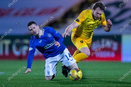 Ryan Kent of Rangers is fouled off Nicky Devlin of Livingston during the Scottish Premiership match at the Tony Macaroni Arena, Livingston.