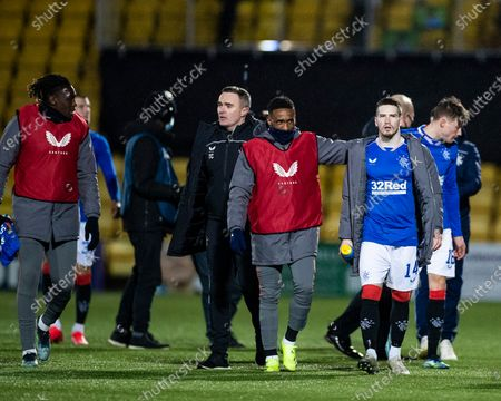 Stock Picture of Rangers players Jermain Defoe and Ryan Kent celebrate at the end of the Scottish Premiership match at the Tony Macaroni Arena, Livingston.