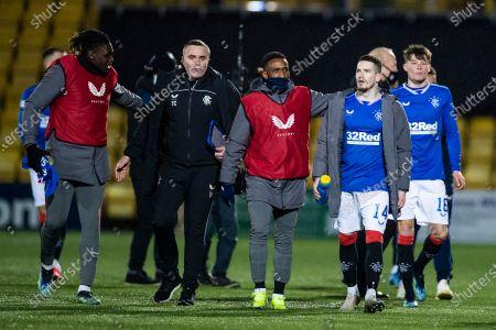 Rangers players Jermain Defoe and Ryan Kent celebrate at the end of the Scottish Premiership match at the Tony Macaroni Arena, Livingston.