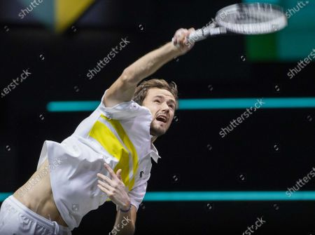 Daniil Medvedev of Russia in action during his match against Dusan Lajovic of Serbia on the third day of the ABN AMRO World Tennis Tournament in Rotterdam, The Netherlands, 03 March 2021.