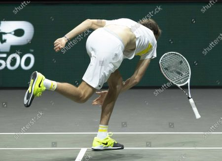 Daniil Medvedev of Russia reacts during his match against Dusan Lajovic of Serbia on the third day of the ABN AMRO World Tennis Tournament in Rotterdam, The Netherlands, 03 March 2021.