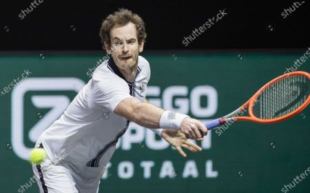 Andy Murray of Britain in action against Andrey Rublev of Russia on the third day of the ABN AMRO World Tennis Tournament in Rotterdam, The Netherlands, 03 March 2021. The ATP tournament in Ahoy takes place without an audience due to the corona pandemic.