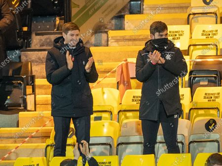 Rangers Manager Steven Gerrard celebrates Alfredo Morelos of Rangers' match winning goal from the stand with analyst Scott Mason after Gerrard was sent off by referee John Beaton at half-time