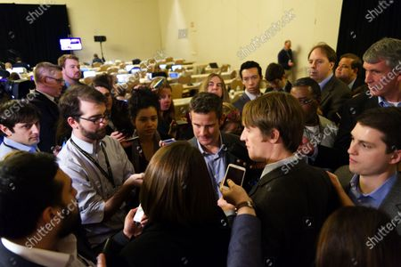 """Members of the media form a scrum as US Representative Adam Kinzinger holds a media availability during the """"Congress of Tomorrow"""" Joint Republican Issues Conference, at the Loews Hotel, in Center City, Philadelphia, Pennsylvania, on January 25, 2017."""
