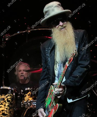 Frank Beard (left) and Billy Gibbons of the band ZZ Top perform in concert at the King Center for the Performing Arts on October 22, 2019 in Melbourne, Florida.