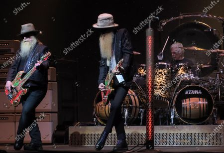 Dusty Hill (from left), Billy Gibbons, and Frank Beard of the band ZZ Top perform in concert at the King Center for the Performing Arts on October 22, 2019 in Melbourne, Florida.