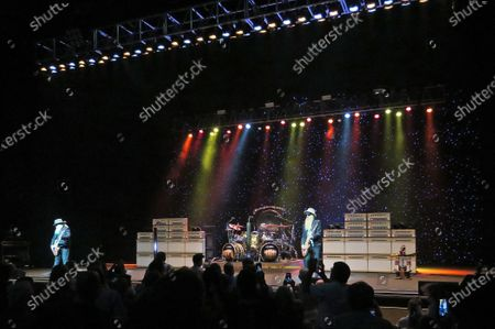 Dusty Hill (from left), Frank Beard and Billy Gibbons of the band ZZ Top perform in concert at the King Center for the Performing Arts on October 22, 2019 in Melbourne, Florida.