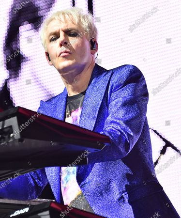Nick Rhodes performs with Duran Duran in a concert at the Kennedy Space Center Visitor Complex Rocket Garden in honor of the 50th anniversary of the Apollo 11 moon launch on July 16, 2019 in Cape Canaveral, Florida.