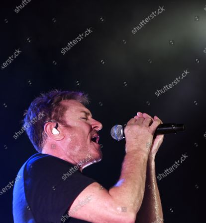 Simon Le Bon performs with Duran Duran in a concert at the Kennedy Space Center Visitor Complex Rocket Garden in honor of the 50th anniversary of the Apollo 11 moon launch on July 16, 2019 in Cape Canaveral, Florida.