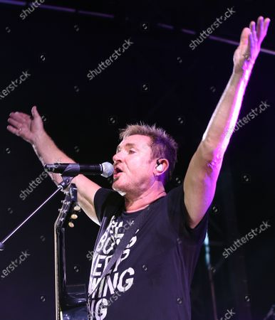 Simon Le Bon performs with Duran Duran in the rocket garden at the Kennedy Space Center Visitor Complex in honor of the 50th anniversary of the Apollo 11 moon launch on July 16, 2019 in Cape Canaveral, Florida.