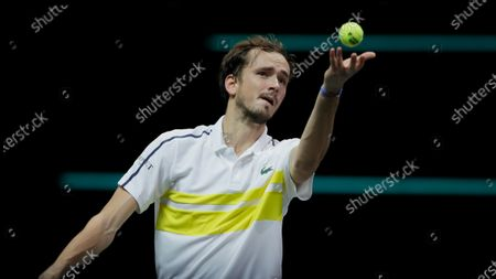 Russia's Daniil Medvedev serves against Serbia's Dusan Lajovic in their first round men's singles match of the ABN AMRO world tennis tournament at Ahoy Arena in Rotterdam, Netherlands