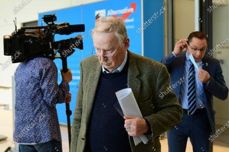 Alternative for Germany party (AfD) faction co-chairman in the German parliament Bundestag and former chairman Alexander Gauland (C) and Alternative for Germany party (AfD) co-chairman Tino Chrupalla (R) arrive for a press statement in Berlin, Germany, 03 March 2021. The Alternative for Germany Party called for a press statement on the occasion of media reports stating the Federal Office for the Protection of the Constitution announced AfD as an extreme right wing suspicion case.