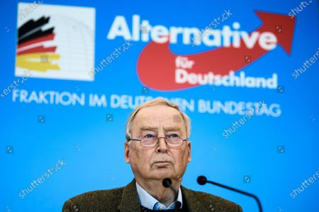 Alternative for Germany party (AfD) faction co-chairman in the German parliament Bundestag and former chairman Alexander Gauland looks on during a press statement in Berlin, Germany, 03 March 2021. The Alternative for Germany Party called for a press statement on the occasion of media reports stating the Federal Office for the Protection of the Constitution announced AfD as an extreme right wing suspicion case.