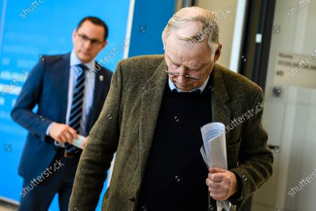 Alternative for Germany party (AfD) faction co-chairman in the German parliament Bundestag and former chairman Alexander Gauland (R) and Alternative for Germany party (AfD) co-chairman Tino Chrupalla (L) leave after a press statement in Berlin, Germany, 03 March 2021. The Alternative for Germany Party called for a press statement on the occasion of media reports stating the Federal Office for the Protection of the Constitution announced AfD as an extreme right wing suspicion case.