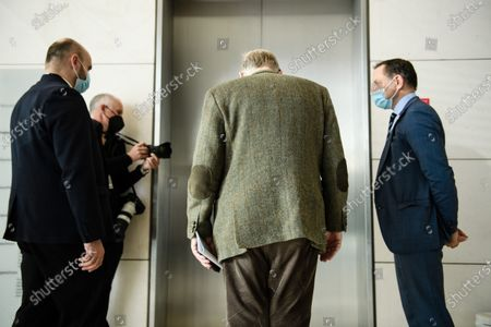 Alternative for Germany party (AfD) faction co-chairman in the German parliament Bundestag and former chairman Alexander Gauland (C) and Alternative for Germany party (AfD) co-chairman Tino Chrupalla (R) wait for the elevator as they leave after a press statement in Berlin, Germany, 03 March 2021. The Alternative for Germany Party called for a press statement on the occasion of media reports stating the Federal Office for the Protection of the Constitution announced AfD as an extreme right wing suspicion case.