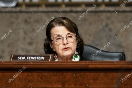 Stock Photo of United States Senator Dianne Feinstein (Democrat of California) asks questions during a Senate Homeland Security and Governmental Affairs & Senate Rules and Administration joint hearing to discuss the January 6th attack on the U.S. Capitol.
