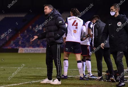 Oldham Athletic's Harry Kewell (Head Coach) during the Sky Bet League 2 match between Oldham Athletic and Bolton Wanderers at Boundary Park, Oldham on Tuesday 2nd March 2021.