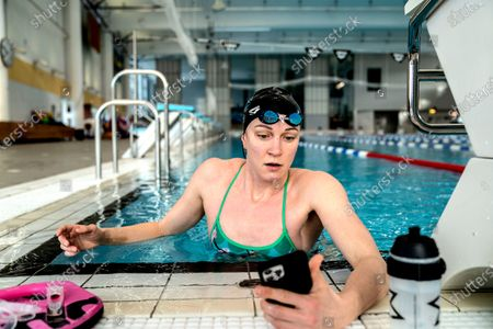 Sarah Sjostrom training in the pool in Stockholm, Sweden, on March 02, 2021. Sarah broke her elbow a month ago and was allowed to start swimming again on Tuesday after having her stitches removed