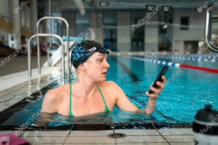 Stock Image of Sarah Sjostrom training in the pool in Stockholm, Sweden, on March 02, 2021. Sarah broke her elbow a month ago and was allowed to start swimming again on Tuesday after having her stitches removed