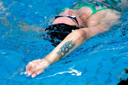 Stock Photo of Sarah Sjostrom training in the pool in Stockholm, Sweden, on March 02, 2021. Sarah broke her elbow a month ago and was allowed to start swimming again on Tuesday after having her stitches removed