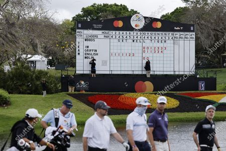 A scoreboard displays a 'Get Well Tiger' message for Tiger Woods near the ninth hole during the final practice round for the Arnold Palmer Invitational presented by Mastercard golf tournament at the Bay Hill Club & Lodge in Orlando, Florida, USA, 03 March 2021.
