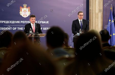 EU Special Representative for the Pristina-Belgrade Dialogue Miroslav Lajcak (L) talks during a press conference with Serbian President Aleksandar Vucic (R), after their meeting in Belgrade, Serbia, 03 March 2021. EU Special Representative Lajcak is on two-day official visit to Serbia.