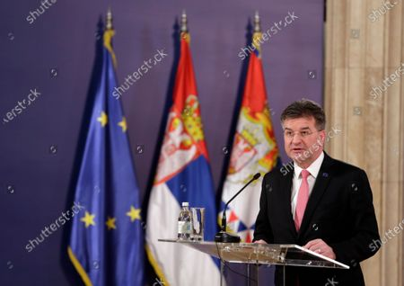 EU Special Representative for the Pristina-Belgrade Dialogue Miroslav Lajcak talks during a press conference with Serbian President Aleksandar Vucic (not pictured), after their meeting in Belgrade, Serbia, 03 March 2021. EU Special Representative Lajcak is on two-day official visit to Serbia.