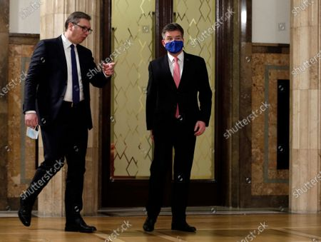 EU Special Representative for the Pristina-Belgrade Dialogue Miroslav Lajcak (R) arrives for a press conference with Serbian President Aleksandar Vucic (L), after their meeting in Belgrade, Serbia, 03 March 2021. EU Special Representative Lajcak is on two-day official visit to Serbia.