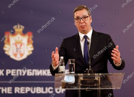 Serbian President Aleksandar Vucic talks during a press conference with EU Special Representative for the Pristina-Belgrade Dialogue Miroslav Lajcak (not pictured), after their meeting in Belgrade, Serbia, 03 March 2021. EU Special Representative Lajcak is on two-day official visit to Serbia.