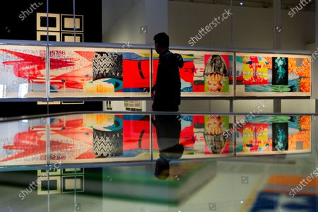 A visitor looks at the work 'EF-111' by US artist James Rosenquist on display in the exhibition 'The American dream. From Pop to Today' at CaixaForum in Barcelona, Spain, 03 March 2021. The show exploring graphic art in North America from the 1960s on opens to the public until 13 June 2021.