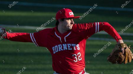 Delaware State pitcher Jordan Haddaway throws against LaSalle during an NCAA baseball game, in Philadelphia