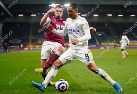 Burnley's Charlie Taylor (L) in action with Leicester's Youri Tielemans (R) during the English Premier League soccer match between Burnley FC and Leicester City in Burnley, Britain, 03 March 2021.
