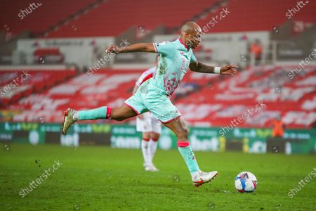 GOAL Swansea City forward Andre Ayew (10) scores from the penalty spot to win the game for Swansea City during the EFL Sky Bet Championship match between Stoke City and Swansea City at the Bet365 Stadium, Stoke-on-Trent