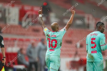 GOAL Swansea City forward Andre Ayew (10) celebrate his last minute winner scored from the penalty spot during the EFL Sky Bet Championship match between Stoke City and Swansea City at the Bet365 Stadium, Stoke-on-Trent