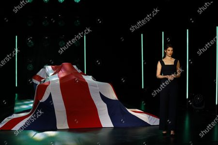 Gemma Arterton with the Aston Martin AMR21 covered by a Union Jack during the  Formula One Aston Martin