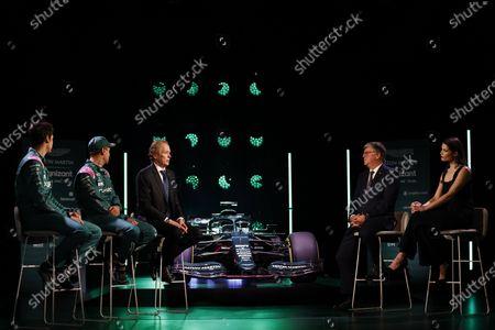 Stock Picture of Lance Stroll, Aston Martin, Sebastian Vettel, Aston Martin, Andrew Green, Technical Director, Aston Martin F1, Otmar Szafnauer, Team Principal and CEO, Aston Martin F1, and Gemma Arterton, with the AMR21 during the  Formula One Aston Martin