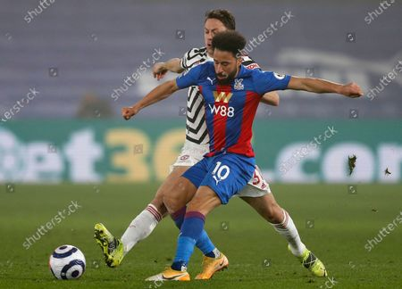 Crystal Palace's Andros Townsend (R) in action against Manchester United's Nemanja Matic (L) during the English Premier League soccer match between Crystal Palace and Manchester United in London, Britain, 03 March 2021.